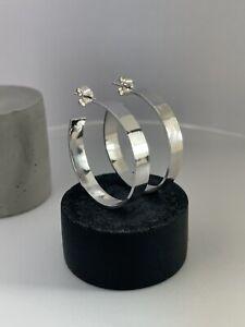 Sterling Silver 925 / 4mm Wide Hoop Earrings Smooth Surface / 25mm / Handmade UK