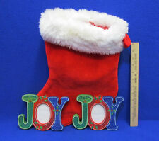 Christmas Stocking & 2 Joy Picture Photo Frames Holiday Decor Lot Of 3