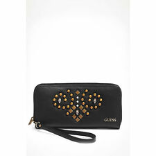 Guess Seun zip Around Zipper Coin Slot wallet for Women's, Black