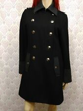 Nautica Pea Coat Double Breasted Jacket Womens M Black Wool Bend Silver Buttons