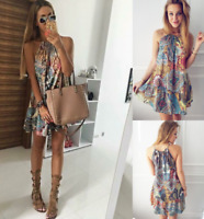 Womens Prom Loose Fit UK Party Elastic Holiday Short Baggy Tops Mini Dresses