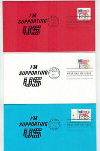 1991 USA ATLANTA OLYMPICS SET OF 3 1st Cache COLOR ENV. Red White Blue Patriotic