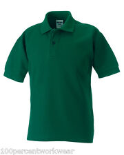 Size 3-4 Yrs Russell 539B BOTTLE GREEN Polycotton Short Sleeved Pique Polo Shirt