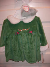 Girls 3 pc Green Velour Christmas Dress Panties & Headband Set 0/3 0 3 Months