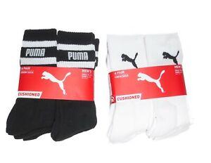 Puma Men's Crew Length 6 Pack Cushioned Tube Socks Crew in White or Black