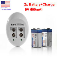 2x 600mAh 9V Rechargeable Li-ion Battery+9 Volt NiMH NiCd 6F22 Batteries Charger