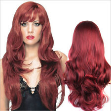 """30"""" Cosplay Wigs Long Hair Heat Resistant Curly Wave Wigs for Women Wine Red AU"""