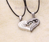 His and Hers Stainless Steel I Love You Heart Men Women Couple Pendant Necklace~