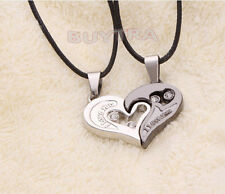 Trendy His and Hers Stainless Steel Heart Pendant Couples Love Necklaces 3c
