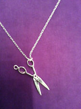 UK New Sterling Silver Plated Scissor Charm Necklace Novelty 18 Inch Chain   017