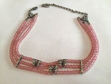 Crystal Butterfly Choker *Very Good* Ben-Amun Pink Opalescent Faux Pearl And