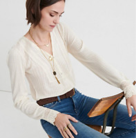 Lucky Brand Top Lace Mix Drop Needle Ivory Sz M NEW NWT 320
