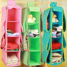 10 Pockets Organizer Storage Wardrobe Hanging Hand Bags Clothes Holder Rack pink