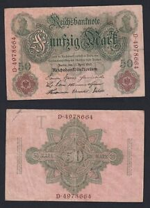 Germania 50 mark Reichsbanknote 1910 BB/VF  B-08