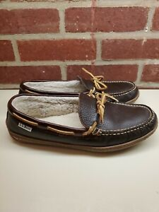 LL Bean Mens Size 8 Handsewn Brown Leather Wool Lined Moccasin Slippers