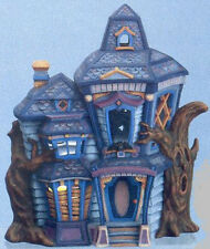 """Ceramic Bisque Ready to Paint Haunted House 14"""" Tall comes with clip in light"""