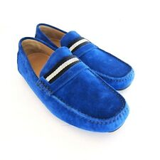 S-1632102 New Bally Wabler 465 Sapphire Suede Driver Shoe Sz US 8D Marked 7E