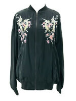 Buffalo David Bitton Women's Black Embroidered Zip Bomber Jacket Size Small NEW