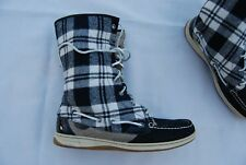 Black & White Plaid Fabric & Leather SPERRY TopSider Laced Ladyfish Boots 10 M
