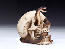 Collectible SKULL WITH COBRA Handpainted Resin Statue SNAKES HALLOWEEN DECOR