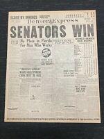 1925 World Series - Washington Senators vs Pittsburgh Pirates - Denver Newspaper