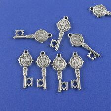 10pcs Tibetan silver two sides Saint Benedict key design charms h0796