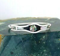 "Mexican Bracelet Alpaca Silver Abalone Shell Inlays 6-5/8"" Vtg Black Enamel i31"