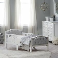 Upholstered Toddler Kids,Baby Crib Bed - Gray/French White with Head & Footboard