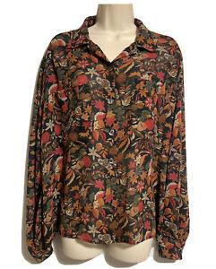 BLARNEY Irish Vintage 1980s Fig Leafy Botanical Landgirl Floral Shirt Top UK 14
