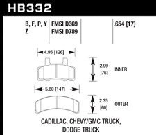 Hawk Super Duty Front Brake Pads For 87-02 Cadillac/Chevy/Dodge/GMC #HB332P.654