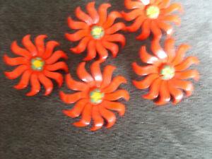 5 Vintage Curtain  Flower Tie Back , Pin Back