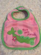 Stephen Joseph Girls Pink Green Peas Flowers Cloth Cotton Baby Bib