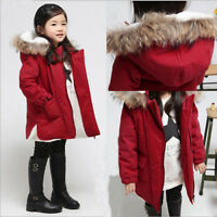 NEW GIRLS FUR PARKA COAT Padded HOODED JACKET SCHOOL AGE 7 8 9 10 11 12 13 Y