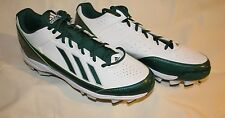 ADIDAS POWERALLEY MOLDED LOW BASEBALL CLEATS WHITE & GREEN MENS SIZE 13.5 NEW