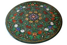 """36"""" Green Round Marble Coffee Table Top Rare Gems Marquetry Floral Inlay Decor"""