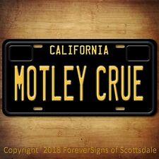 Motley Crue Heavy Metal Band California Aluminum Vanity License Plate tag Black