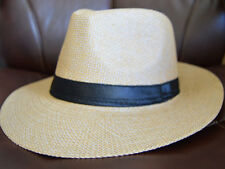 Men's Cuban Style Fedora Trilby Hat Panama Wide Brim Cap Sunhat Brown