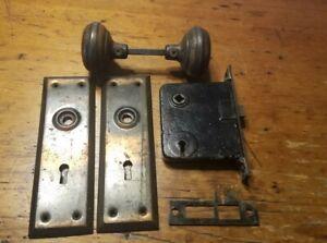 1 Complete (minus key & screws) Earle Japanned Copper Flash Mortise Lock Set - L