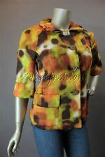 $995 New ST. JOHN Mahogony Multi Yellow Orange Brown Dyed Silk Coat Jacket 8