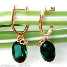 Navachi 18K GP  Crystal Oval Green Zircon Emerald Ear-Nail Earrings BH1713