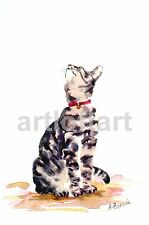 Sweet Amy  - CAT Art Print of a Watercolor Painting by A Borcuk SIGNED 8x10