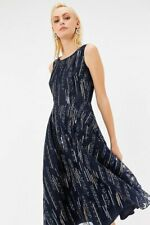 Coast Navy Sequin Embroidered Full Skirt Dress - Size: 14
