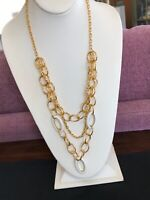 Triple Strand Gold Necklace With Three Layers White Enameled Accent Links