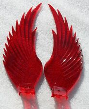 Replacement pair of RED Acrylic WINGS for Chrome Hood Ornaments. New.