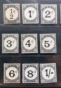 TRINIDAD 1885 1/2d to 1s SG D1 - D9 Sc J1 - J9 postage due set 9 MLH