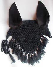 Horse Earnet Crochet Fly Veil Equestrian Fly Bonnet/veil/Fly mask FFE14 (Black)