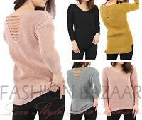 Womens Distressed Slash Back Long Sleeve Knitted Baggy Jumper Cut Out Smart Top