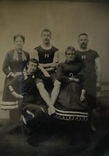 1/4 PLATE ANTIQUE TINTYPE PHOTO TWO YOUNG MEN THREE WOMEN SWIMSUITS Victorian