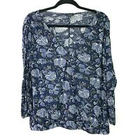 LUCKY BRAND Womens Sz XL Top Floral Blue Front Cross Over V Neck Long Sleeve