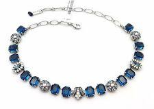 MARIANA Silver Swarovsk Crystal Necklace Blue Rectangle Mosaic 1069 Mood Indigo